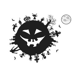kids playing around for halloween background vector image