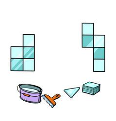 Laying tile repair work vector