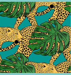 Leopards in colorful tropical flowers vector