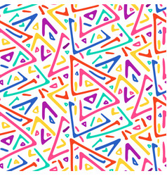 light colorful sketch triangles seamless pattern vector image