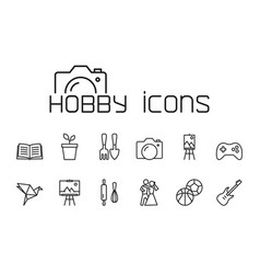 Line hobby icons set on white background vector