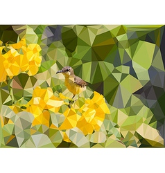 Low poly geometric of little bird on yellow flower vector image