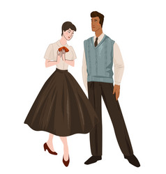 man and woman wearing clothes 1950s fashion vector image