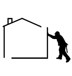 man building a house vector image