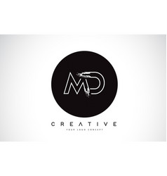 Md modern leter logo design with black and white vector