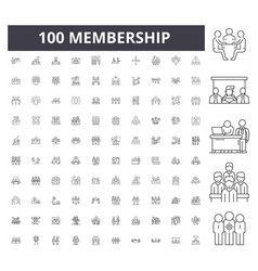 Membership line icons signs set outline vector