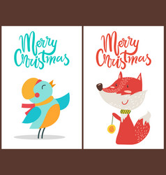 Merry christmas bird and fox vector