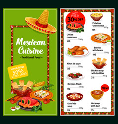 Mexican national restaurant menu dishes vector