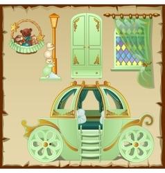 Modern interior design kids room in green tones vector image