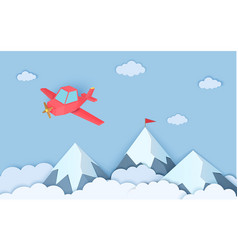 Mountains airplain in paper cut style landscape vector
