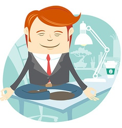 Office man meditating on his working desk vector image
