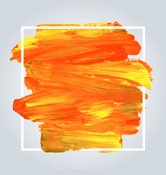 orange acrylic background with white frame vector image
