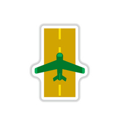 paper sticker on white background airplane runway vector image