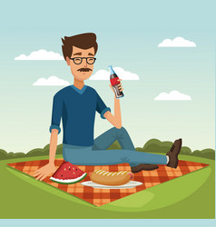 picnic in the park cartoons vector image