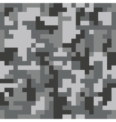 Pixel camo seamless pattern grey urban camouflage vector