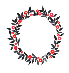 red berry and black leaves wreath watercolor vector image