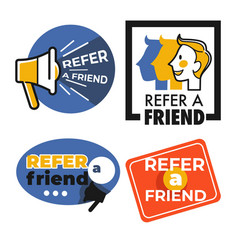 refer friend isolated icons share information man vector image