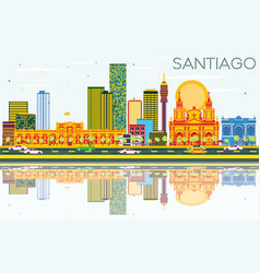 santiago chile skyline with color buildings blue vector image