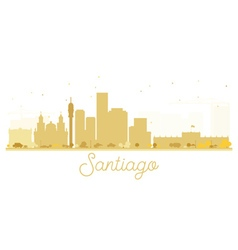 Santiago city skyline golden silhouette vector