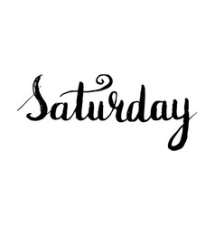 saturday lettering postcard ink vector image