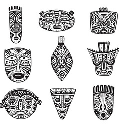 set hand drawn fancy masks in african style vector image