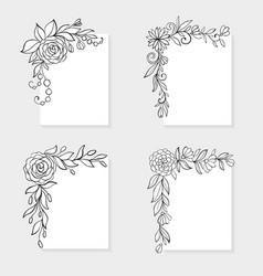 Set of black and white hand drawn corner floral vector
