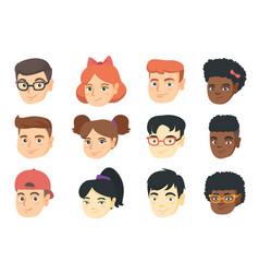 set of kids smiley emoji cartoons vector image
