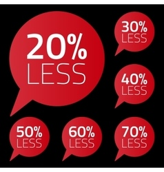 Set of percent less speech bubble sale business vector