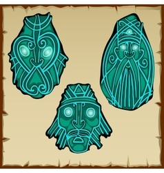 Set of three figures carved from stone vector