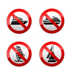 set prohibited signs - water sports vector image