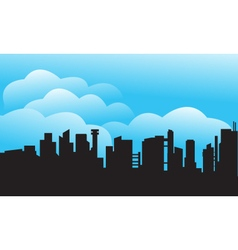 Silhouette of city and cloud vector