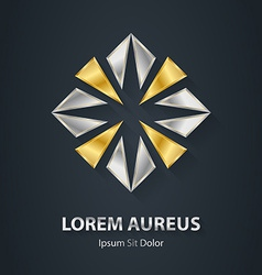 Silver and gold logo award 3d icon metallic vector