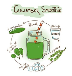 Sketch Cucumber smoothie recipe vector image
