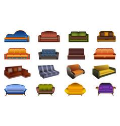 sofa icons set cartoon style vector image