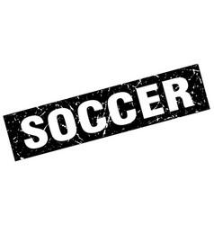 Square grunge black soccer stamp vector