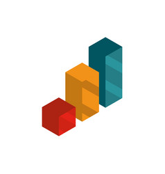 statistics report social media isometric icon vector image