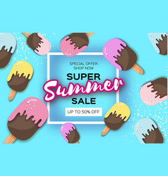 super summer sale with ice-creams in paper cut vector image