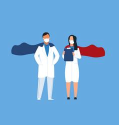 superhero doctors medical workers wearing capes vector image