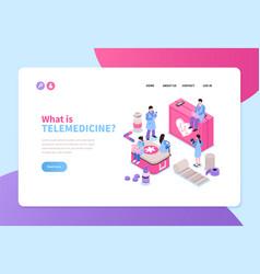 telemedicine isometric banner vector image