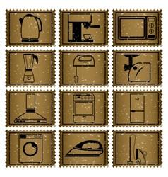 Twelve retro icons vector