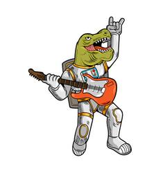 Tyrannosaurus rock star play on guitar vector