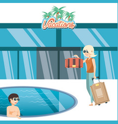 Vacations couple in the pool travel vector