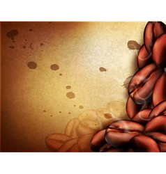 Vintage background with coffee beans vector