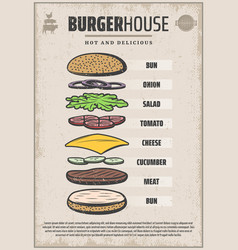 Vintage colored hamburger ingredients poster vector