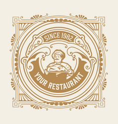 vintage restaurant logo with chef vector image