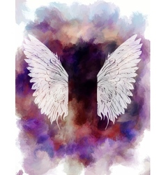 Watercolor background with wings vector image