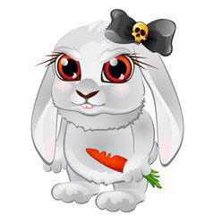 white bunny with red eyes carrots and black bow vector image