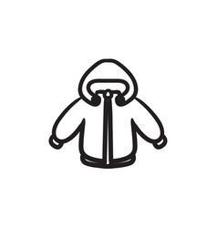 Winter jacket sketch icon vector