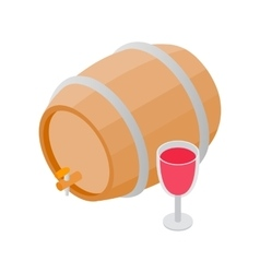 Wooden barrel of wine with a tap isometric 3d icon vector