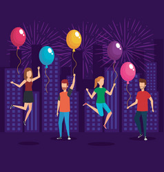 young people on a party design vector image